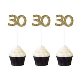 anzahl kuchen cupcakes Rabatt 12 STÜCKE Nummer 30 40 50 60 Glitter Cupcake Topper 30. 40. 50. 60. Geburtstag Feier Party Supplies Erwachsene Kuchen Dekoration