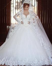 Abiti da sposa senza maniche con maniche lunghe in tulle 2019 abiti da sposa in rilievo arabo con applicazioni basche in vita lunga plus size abiti da sposa brasiliani da
