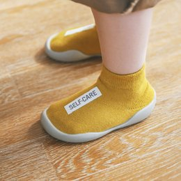 Весна лето новые детские туфли онлайн-19 Весной и летом New Kids противоскользящие носки для пола Детская обувь для ходьбы, резиновые нижние носки, короткая труба с маркировкой из хлопчатобумажной ткани