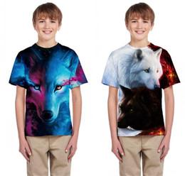Tshirt di stampa animale online-Maglietta per bambini Ragazzi Ragazze Galaxy Wolf T-shirt con stampa 3D Estate 2019 Bambini Animal Print Maglietta Maglietta per bambini T-shirt per adolescenti