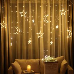 Le lune stellano la luce di stringa online-Moon Star Lampada LED Lampada String Ins Luci di Natale Decorazione Luci natalizie Lampada da terra Neon lanterna 220v luce fata