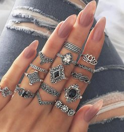 2019 gioielli in miniatura all'ingrosso Anello 15 pezzi set moda femminile argento retro onda domino diamante beach party estate gioielli moda popolare all'ingrosso