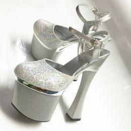2018 nuove scarpe da sposa donna sandali argento sposa paillettes tacchi  alti 18 cm piattaforma donne sandali sexy scarpe da pole dance femminile f14342a2837