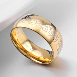 gold muslim schmuck Rabatt Moslemisches Symbol Männer Ring Schmuck hochwertiges Gold-Schwarz-Farbe 8mm Edelstahl muslimischen Gläubigen Ringe US-Größe 6-12 heißen Verkauf