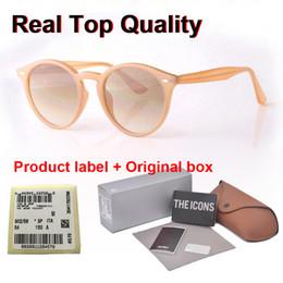 Yeni Arrial güneş gözlüğü kadın erkek Yuvarlak tahta çerçeve Metal menteşe cam mercek Retro Vintage güneş kutusu ve davaları Goggle gözlük nereden