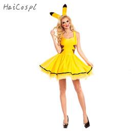 2019 vestido cosplay pikachu Costume Pikachu Halloween Mulheres Fancy Dress Cosplay Partido Sexy bonito do Anime vestir roupas Meninas férias Festival de dança para AdultMX190921 desconto vestido cosplay pikachu