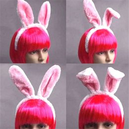bunny cosplay dress Promo Codes - Women Girls Rabbit Headwear Bunny Ears Dressed Props Headbands Hairbands Female Hoop Hairwears Accessories Gifts Easter Cosplay Headband
