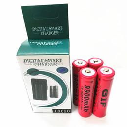 Canada GIF ROUGE 18650 9900 mAh batterie 4 PCS + chargeur de batterie au lithium 1PCS forte lumière lampe de poche batterie chargeur est pied plat Offre