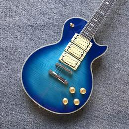 halb hohle körper bassgitarre Rabatt Blaue elektrische E-Gitarre der heißen Verkäufe mit 6 Schnüren und 3 Tonabnehmern für Verkauf