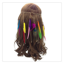 Argentina Bohemian Pavo Real Plumas Hairband Indian Feather Diadema Borla Cuerda de Cáñamo Para Mujeres Niñas Moda Lindo Festival Tocado Suministro