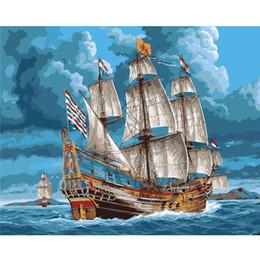 2019 pintura a óleo vela Barco a Vela sem moldura Exercício Nas Ondas Pintura DIY Pelo Número Moderno Abstrato Pintado À Mão Pintura A Óleo Acessórios de Decoração Para Casa pintura a óleo vela barato