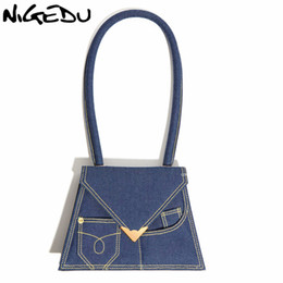 trapezoid box Promo Codes - Denim Trapezoid Top-handle Handbags Women Shoulder Bags brand design Small Square Box Bags for Ladies Totes Bolsa Feminina blue