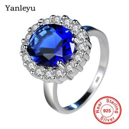 Ювелирные украшения diana онлайн-Yanleyu Princess Diana William Kate Blue Cubic Zircon Engagement Rings for Women 925 Sterling Silver Wedding Ring Jewelry PR272