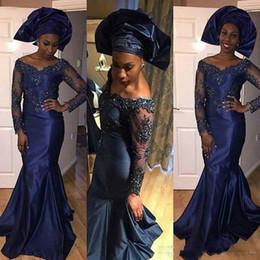 Africaine Bleu Marine Sirène Robes De Soirée Perles Applique Saoudite Robes De Soirée Robe De Soirée De Bal Prom Formal Celebrity Robes ? partir de fabricateur