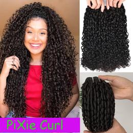 Estensioni dei capelli a doppia trama online-Flexi / Pixie / Pissy Curl Doppia Drawn Funmi fasci di capelli brasiliani di 100% riccio crespo dei capelli umani Weave Remy di estensione dei capelli per le donne nere