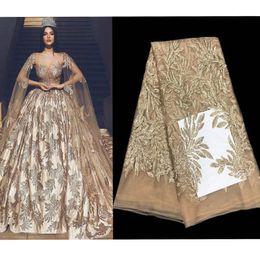 Argentina 2019 moda caliente elegante francés bordado lentejuelas encaje malla tela del cordón Material de costura de calidad superior para el vestido de boda 5 yardas Suministro