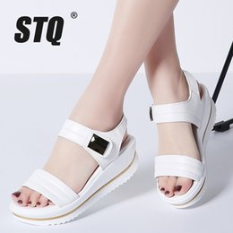 b71eda089199 STQ 2018 summer women Platform flat sandals shoes women platform sandalias shoes  ladies white wedge sandals shoes flipflops 825