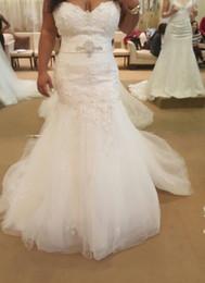 vestido de noiva de sereia de lantejoulas de strass Desconto Bling Cristal Sereia Vestidos de Casamento 2019 Querida Applique Lace Lantejoulas Strass Contas Tule Espartilho Voltar Vestidos de Noiva de Casamento Barato