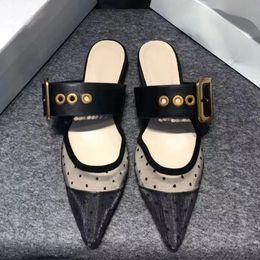 Zapatos de lunares online-Diseñador Mujer Tulle sandalias planas bordados Slingbacks pisos zapatillas diapositivas lunares señora zapatos casuales sandalias