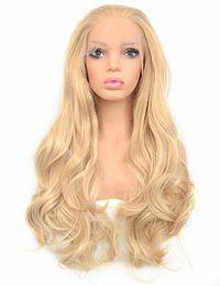 Le parrucche piene del merletto hanno colore misto online-Parrucca anteriore di colore biondo misto dorato parrucca di ricambio parrucche piene per le donne Parrucche sintetiche ondulate lunghe parrucche glueless donne resistenti al calore