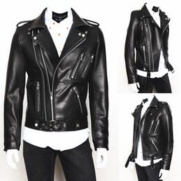 chaquetas fresco moto Rebajas Personalice a los hombres Cool chaqueta de cuero de manga larga de lavado de solapa PU chaqueta de cuero de la motocicleta para los hombres contratados delgado estilo hombres chaqueta de abrigo