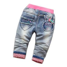 Jeans long floral on-line-Chegada nova Meninas Do Bebê Moda Denim Jeans Meninas Floral Belt Skinny Jeans Crianças Primavera Outono Calças Criança Calças Compridas