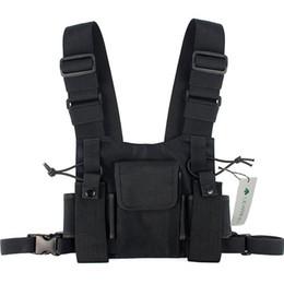 Черный тактический мешок онлайн-Модная нейлоновая сумка для снаряжения Черная безрукавка Хип-хоп Уличная одежда Функциональная тактическая оснастка Грудь Буровая установка Kanye West Wist Pack Bag Hot