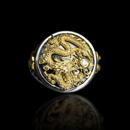14k drago online-Anello da uomo in oro bicolore 14k con diamante nero placcato