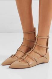 Zapatos perfectos para mujeres Toerless Muse Cuero Negro Nued Gold Punta de punta sexy Dama Flats Moda Gladiador Sandalias Boda desde fabricantes