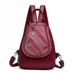 small blue bowl Promo Codes - Fashion Double Zipper Leisure Women Backpack Pu Leather Backpacks Female School Shoulder Bags For Teenage Girls Travel Back Pack Y19051405