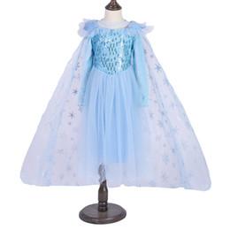 2020 roupas de lantejoulas para meninas Varejo 2020 Novos garotos vestir rainha da neve lantejoulas cosplay manto de fuga líquida vestidos fio flor menina meninas Princesa do Natal roupas vestido roupas de lantejoulas para meninas barato