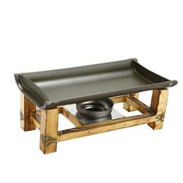 Piatti grigliati non appiccicosi Pan Teppanyaki vassoio cucina giapponese coreano bambù flaps strumenti barbecue piastra universale per barbecue riscaldatore scaldavivande da doghe di bambù fornitori