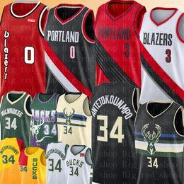 Logo basquete on-line-NCAA Damian Lillard 0 CJ 3 McCollum Jersey 2020 Universidade Nova Giannis 34 Antetokounmpo Basketball Jerseys bordado Logos