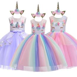 meninas traje arco íris Desconto Vestido unicórnio para meninas tutu rainbow princess vestidos de criança crianças party dress baby girl natal do dia das bruxas traje cosplay j190614