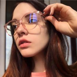 runde nerds gläser Rabatt Pink Transparent Round Glasses Brillengestell Myopia Nerd Brillengestell für Damen Points Zero Vintage Plain Glasses klare Linse