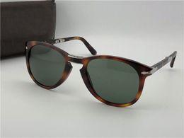 складные солнцезащитные очки Скидка Модные солнцезащитные очки 714 классические ретро пилот складной оправы стеклянные линзы UV400 защитные очки с кожаным чехлом
