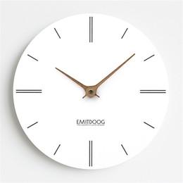 moderno relógio de parede redondo Desconto 12 polegada Modern MDF Board Relógio de Parede Minimalista Nordic Moda Rodada Branco Artificial Silenciosamente Suzuki Relógio para Café Decoração de Casa