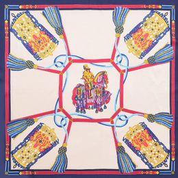 Cavalo de cabeça on-line-POBING Cavalo Corda Tassel Praça Lenços Espanha Hijab Stain Silk Scarf Mulheres Moda Lady Headband pequeno Foulard Bandana 70 centímetros * 70 centímetros