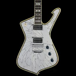 Custom made Mirror Cracks PSM10 Guitarra Negra Paul Stanley Signature MiKro Guitarra Eléctrica Abalone Binding Body Mirguard desde fabricantes