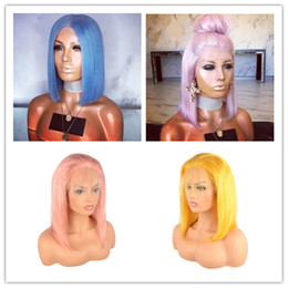 long hair bobs Promo Codes - 5 Colored Choose Lace Front Human Hair Wigs Short Bob Wig Light Blue Pink Purple Straight Lace Front Wig Remy Brazilian Wig