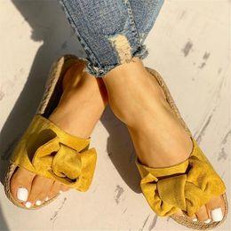 4338e649e Slippers Women Summer Bow Summer Sandals Slipper Indoor Outdoor Linen  Flip-flops Beach Shoes Female Fashion Floral Shoes shoes linen man promotion