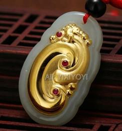 chinesische gold halskette anhänger Rabatt Schöne natürliche weiße Hetian Jade + 18 Karat Gold eingelegter chinesischer Drache RuYi Glück Anhänger + Halskette feiner Schmuck Zertifikat