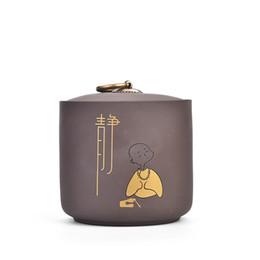 Canada Traditionnel Argile Pourpre En Céramique Thé Pot Cuisine Stockage Pots Sucrier Bol Petit Moine Motif Conteneurs De Stockage Décor À La Maison Art Offre