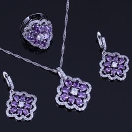 Argentina Fancy Flower Purple Cubic Zirconia White CZ 925 Conjuntos de joyas de plata esterlina para mujeres Pendientes Colgante Anillo de cadena V0290 cheap fancy chains pendants Suministro
