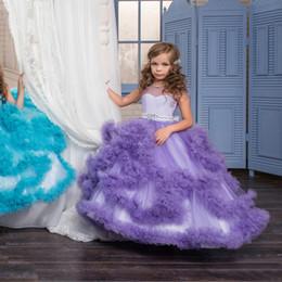 Petites filles Pageant Robes 2019 Tulle Volants Jupe Une Ligne Fleur Robes De Filles Dentelle 3D Floral Perlé Arc Ceinture Dos Creux Filles ? partir de fabricateur