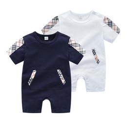 2019 vestidos marrones monos Baby Luxury Designer Jumpsuits Bolsa Impreso Ropa Recién Nacido Niños Pequeños Mamelucos de Moda Niños Sleeeve Corto Mamelucos Del Bebé