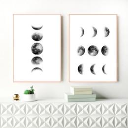 Schwarze florale wandkunst online-Schwarzweiss-Mond Leinwand-Malerei Nordic Wand-Kunst-Bild, Mondphasen-Leinwand-Druck und Plakat Skandinavische Kunst-Wand-Dekor