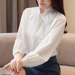 ebe248fe62454 Discount womens khaki blouses - Spring 2019 New Korean Slim Lantern Sleeve  chiffon Bow Long Sleeve
