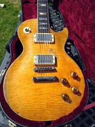 Flamme de guitare verte en Ligne-Rare Relic Aged Peter Green Gary Moore Guitare électrique Custom Shop Conversion de flammes naturelles citron éclater guitares miel éclater