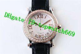 Relojes de mujer correa blanca online-TW Luxury Ladies Watch HAPPY DIAMONDS 274808-5001 Reloj 2892 Caja automática de 18KRose Gold Dial blanco Diamante Bisel correa de piel de becerro Reloj de mujer